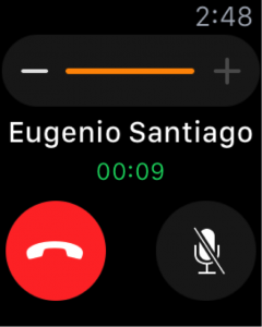 screenshot of an apple watch on a phonecall