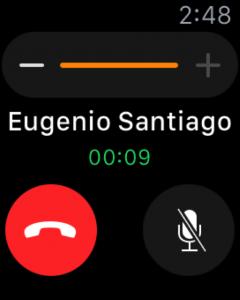 screenshot of an apple watch on a phonecall