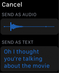 screenshot of an apple watch sending a voicenote or text message.