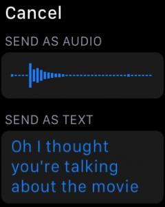 screenshot of an apple watch sending a voicenote or text message.