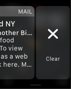 screenshot of an apple watch swiping left to clear a message