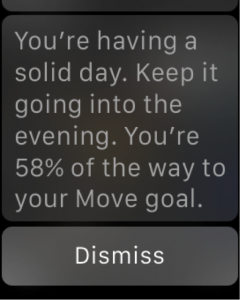 screenshot of an apple watch getting feedback on meeting the exercise goals