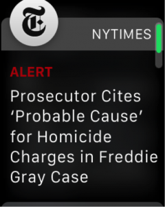 screenshot of an apple watch getting news from the NYTIMES