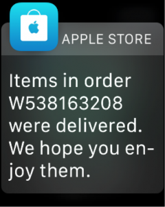 screenshot of an apple watch getting a notification from the apple store about a purchase