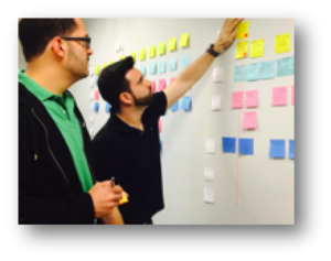 a picture of two men looking at a board full of sticky notes developing a customer journey map