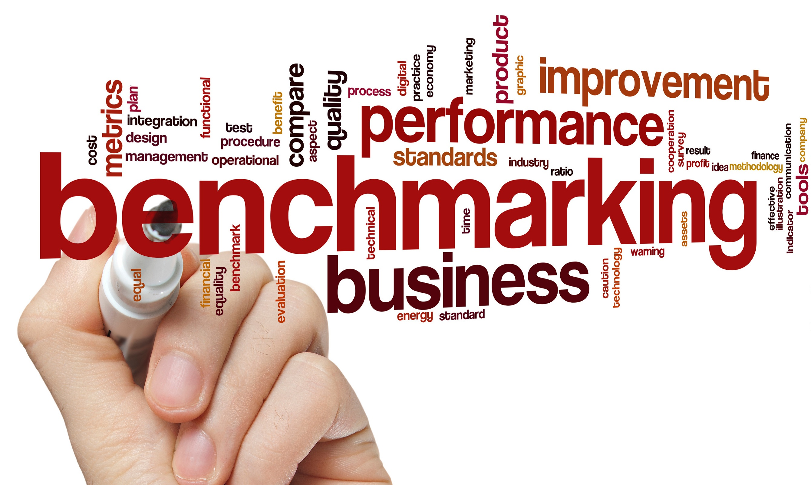 a stock image with words such as benchmarking, business, performance, design management in it