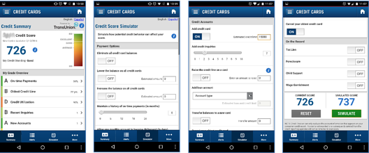 screenshots of a mobile banking application