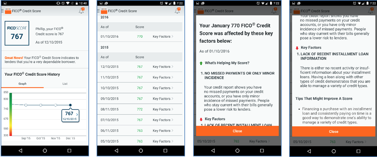 screenshots of the mobile application of the Discover mobile application
