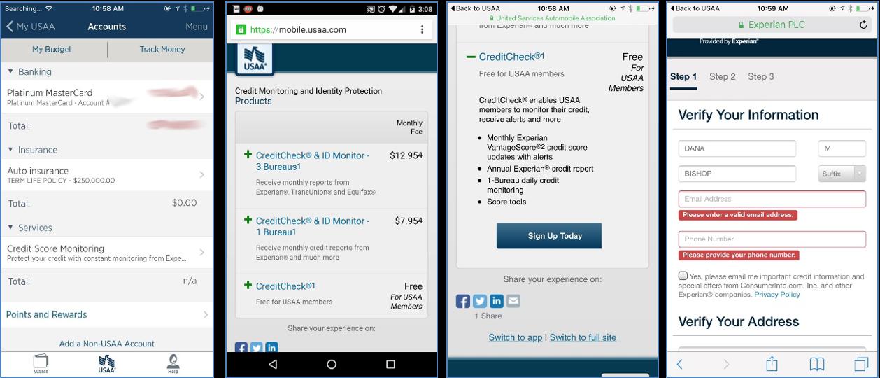 mobile screenshots of the USAA mobile application