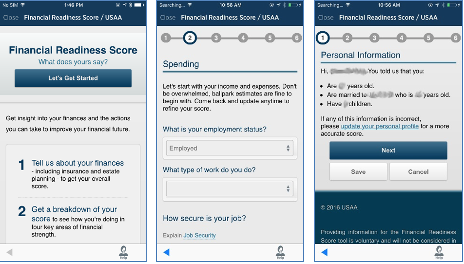mobile screenshots of the USAA mobile application part 2