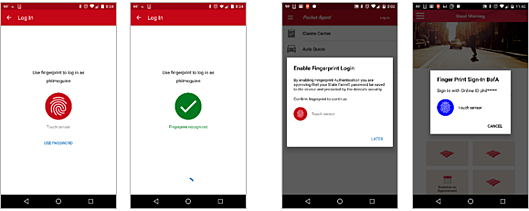Screenshots of the State Farm Android app Bank of America Android app