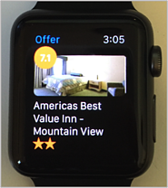 A msart watch watch face with the hotel offer