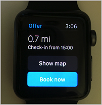 a smart watch watch face of a booking option