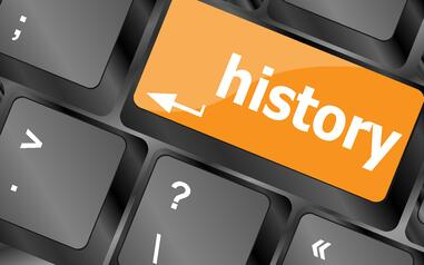 """picture of a computer keyboard with the word """"history"""" written on the return/enter key"""