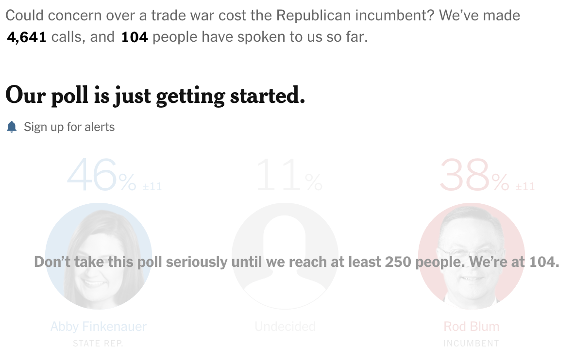 Live Polls from The Upshot where they do not have enough responses to take their polls seriously yet.